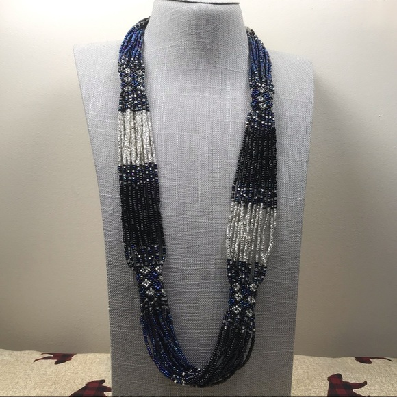 Long Blue Seed Bead Strand Necklace